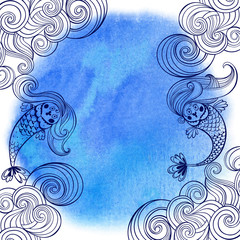 Marine illustration with cartoon mermaids and waves on a blue watercolor background.