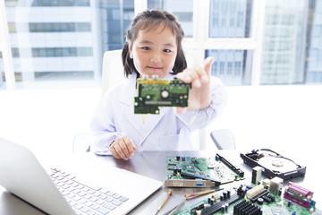 A girl has computer parts