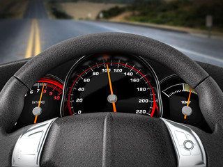 View of the road from the driver seat. 3D illustration