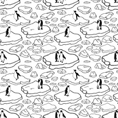 Cartoon hand drawn seamless pattern with penguins and sea ice. Outline polar drift ice with groups of penguins on white background. Lots of symbols and elements. Wild Animal's pattern.