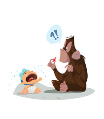 Digital vector funny comic cartoon colored monkey wondering what a red candy is and crying baby, hand drawn illustration, abstract realistic flat style