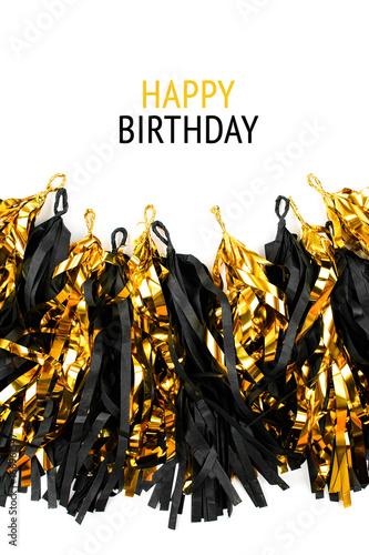 Happy Birthday Card Black And Gold Fringe Tassel Garland On White