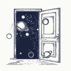 Open door in universe tattoo. Symbol of imagination, creative idea, motivation, new life. Surreal tattoo open door