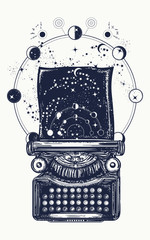 Typewriter tattoo. Symbol of imagination, literature, philosophy, psychology, imagination. Antique typewriter with paper prints Universe, surreal t-shirt design and tattoo art