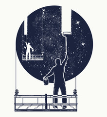Window cleaners wash universe, surreal tattoo. Symbol of clarification, psychology, creative art. People clean Universe, workers washing windows t-shirt design