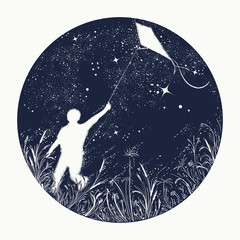 Silhouette boy flying a kite in night sky tattoo. Symbol of dream, happiness, motivation, aspiration, freedom. Boy flies a kite in the universe, t-shirt design