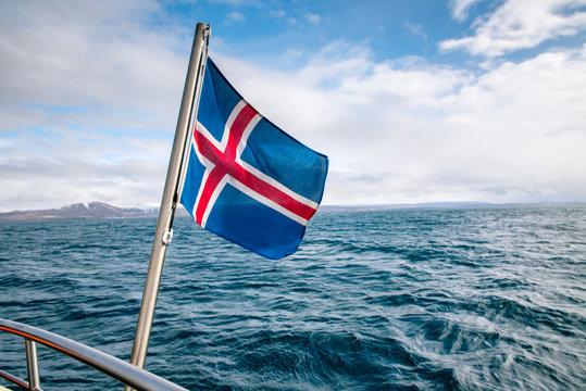 Icelandic flag against the sea
