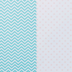 double abstract texture background of geometric blue pattern and pink polka dots print.