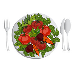Vector illustration. Fresh vegetables on a plate. A set of cutlery on the table.
