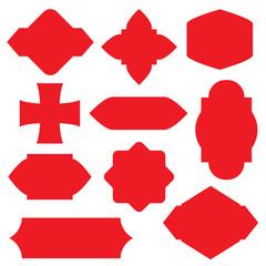 red vintage frames, blank retro badges and labels