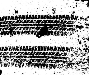Pattern wet car wheels on the asphalt. Tire track and ink blots Road theme. Vector illustration. Urban design. Black and white grunge texture