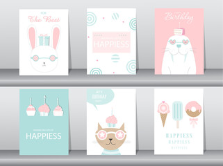 Set of birthday invitations cards,poster,greeting,template,cat,cake,rabbit,Vector illustrations