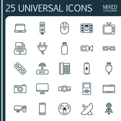 Gadget Icons Set. Collection Of Spectacles, Usb, Antenna And Other Elements. Also Includes Symbols Such As Boombox, Electrical, Printer.