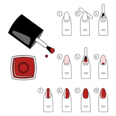 Vector design, how to do a manicure correctly. Steps of manicure, icon