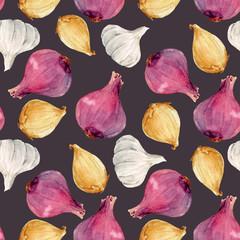 Watercolor onion vector pattern