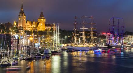 Szczecin, Poland-August 2017:sailing ships at the wharf in Szczecin, Tall Ships Races 2017,panorama