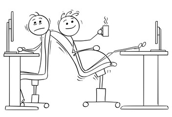 Cartoon of Two Office Workers with Lack of Space for Chairs