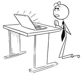 Cartoon Illustration of Businessman Praying in Front of the Computer Notebook