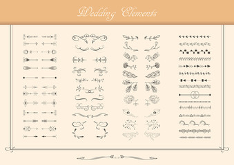 Vector set of ornate frames and scroll elements