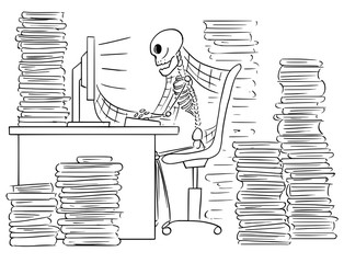 Cartoon Illustration of Human Skeleton of Dead Businessman Sitting in Front of Computer in Office Full of Files