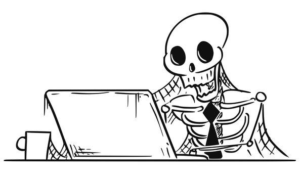 Cartoon Illustration of Human Skeleton of Dead Businessman Sitting in Front of Computer