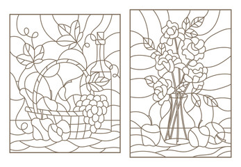 The illustrations in the stained glass style with still life , grapes, wine and bouquet of roses and fruit , dark outline on a white background