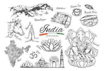 India. Indian Heritage. Vector hand drawn symbols of India. Ganesh, Om, Namaste, Delhi, Cow and other. Isolated objects on white.