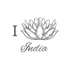 I love India. Vector Hand drawn conceptual print. Sketch style. Lotus. Yoga. Indian Poster.