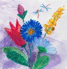 пастельный рисунок, букет цветов