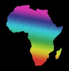 Africa gay pride lgbt rainbow flag map concept isolated on black background.