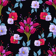 Floral seamless pattern with colorful bouquets of flowers on a black background.  Vector hand drawn background.