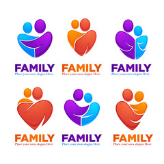 happy family, people, man, woman, kids and happiness,vector set of logo, emblems and symbols