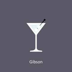 Gibson cocktail icon on dark background in flat style