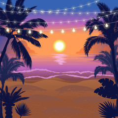 Beautiful tropical beach sunset scene with palms and hanging party lights, vector illustration