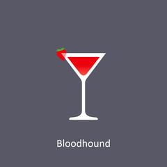 Bloodhound cocktail icon on dark background in flat style
