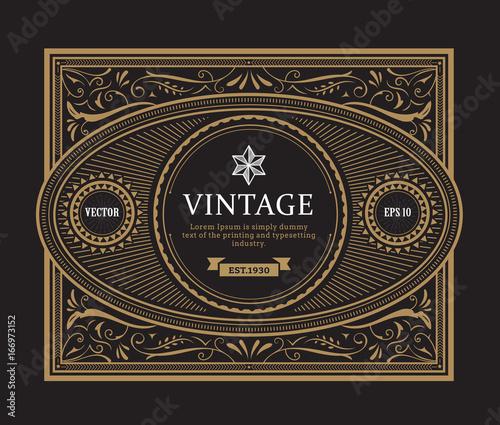 antique frame border. Vintage Border Antique Frame Whiskey Label Hand Drawn Engraving Retro Vector Illustration