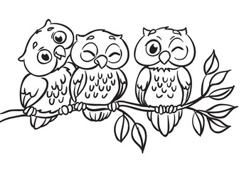 Three owls are sitting on a branch. Outlined for coloring book.