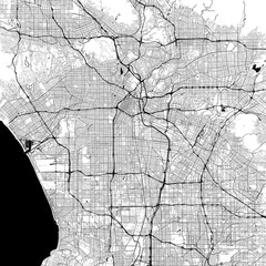 Los Angeles Monochrome Vector Map
