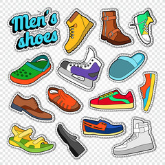 Mens Fashion Doodle. Male Footwear Stickers, Badges and Patches with Sneakers, Boots and Shoes. Vector illustration