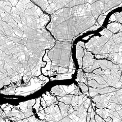 Philadelphia Monochrome Vector Map