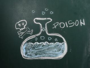 Bottle of poison on chalkboard, blackboard texture