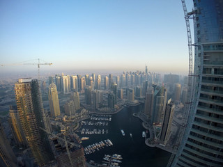 Aerial view of Dubai Marina during sunset