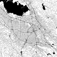 San Jose Monochrome Vector Map