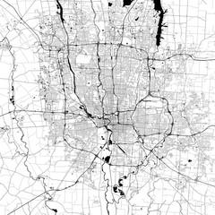 Columbus Monochrome Vector Map