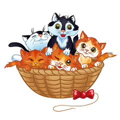 Printed kitchen splashbacks Cats Cute kittens in the basket, vector cartoon illustration. Isolated on a white background.