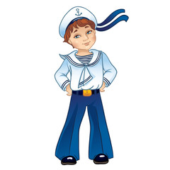 Cartoon cabin boy in uniform sailor. Isolated on a white background .