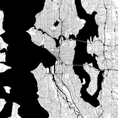 Seattle Monochrome Vector Map