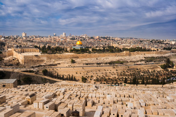 City view of Jerusalem from the mount of Olives in Israel