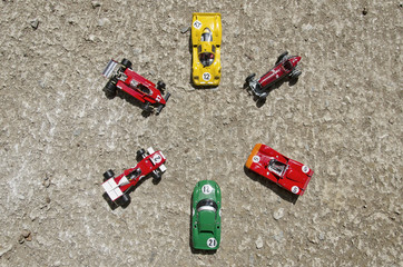 Six classic cars on the ground