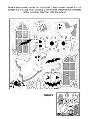 Halloween themed connect the dots picture puzzle and coloring page with little playful ghosts, bats, pumpkins, etc. Answer included.